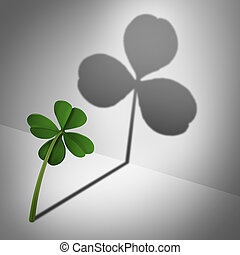 Low self esteem psychological concept as a four leaf clover casting a shadow with only three leaves as a mental health condition of feeling inadequate or negative thinking and low self confidence.
