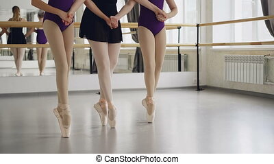 Low shot of female legs in ballet shoes students and teacher...