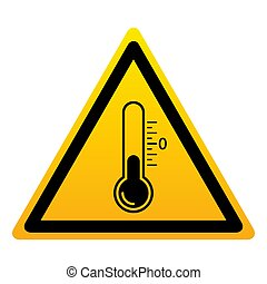 Low temperature icon. Low temperature yellow triangle with thermometer sign isolated on white background. Vector illustration