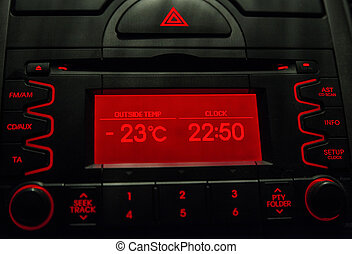 Low temperature on car display .Cold winter - Low...
