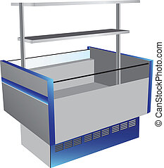 Low temperature refrigerator as commercial equipment with top shelf. Vector illustration.