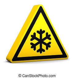 Low temperature yellow sign on a white background. Part of a series.