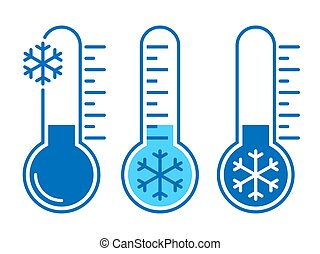 Thermometers graphic icons with low temperature. Signs cold weather isolated on white background. Vector illustration