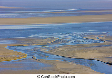 low tide at Mont-Saint-Michel, Normandy, France