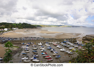 Low tide at Saundersfoot harbour, South Wales seaside...