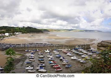 Low tide at Saundersfoot harbour, South Wales seaside...