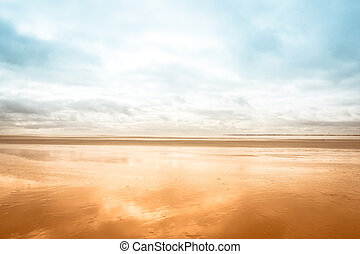 Low tide scenery at the beach