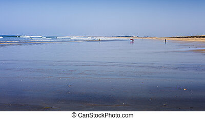 Low tide - Beautiful cold beach in low tide in France with...
