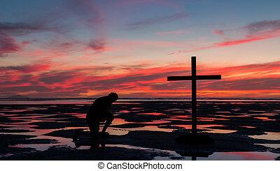 Low Tide Cross Praying