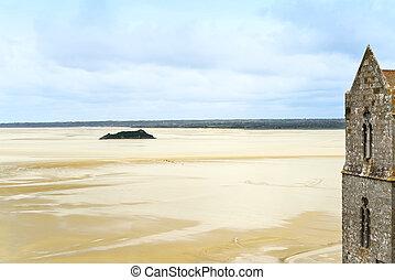 Low tide in Mont Saint Michel Bay. Normandy, France.