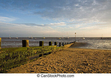 Low tide on Thames Estuary, Leigh on Sea, Essex, UK in mid afternoon Autumn. Horizontal
