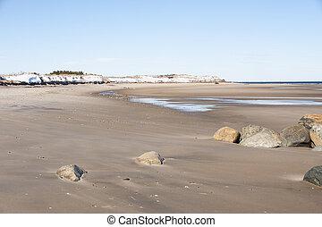 Low tide on lonely Cape Cod Beach in winter