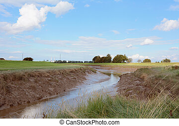 Low tide on River Nene at Foul Anchor, Cambridgeshire - Low...