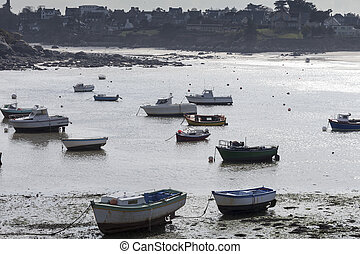 Low tide - Small harbor in low tide in France, near the...