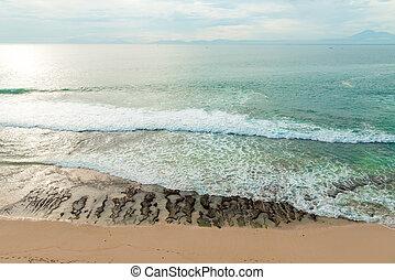 low-tide, v, oceán, pláž