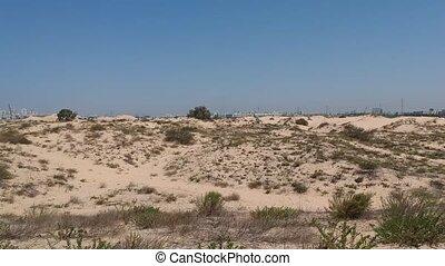 Low travelling shot over desert