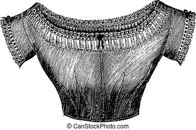 Low under-bodice, vintage engraving. - Low under-bodice,...