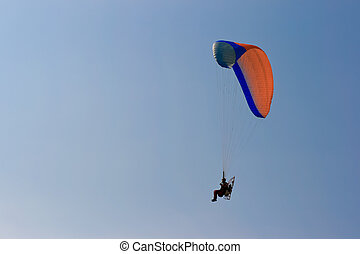 low view of a moto paraglider