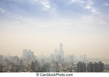 Low visibility caused by smog in kaohsiung city. Taiwan
