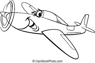 low wing air plane coloring page - Black and White Cartoon...
