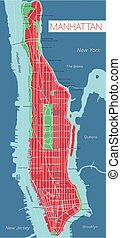 Lower and Mid Manhattan in New York detailed editable vector map