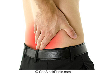 Lower back cramp - Closeup of man with cramp in lower back.