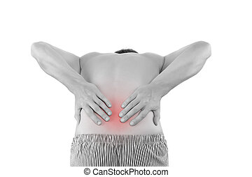 Lower back Pain. - Back Pain. Man touching his back with...