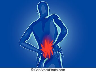 lower back pain. silhouette of abstract man