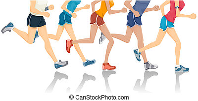 Lower Body of People Jogging with Clipping Path