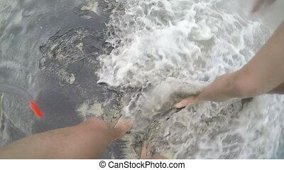 Lower body shot legs of couple walking wet sand on beach...