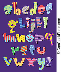 Lower case comic alphabet