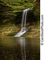The waterfall in the Lower Dells, Matthiessen, Illinois.