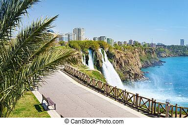 Lower Duden waterfall in Antalya, Turkey - Aerial view of...