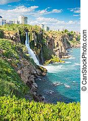Lower Duden waterfall on the Mediterranean coast - Turkey,...