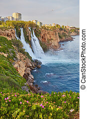 Lower Duden waterfalls on Mediterranean sea coast, Antalya, Turkey
