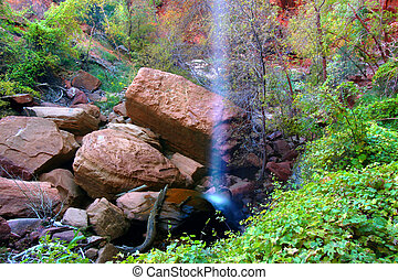 Lower Emerald Pool Waterfall Utah - Waterfall flows into the...