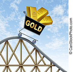 Lower Gold prices - Economic rollercoaster ride representing...