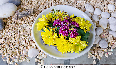 lower in a vase (bowl) on pebbles background.