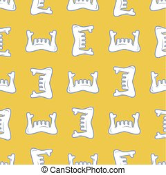 lower jaw seamless pattern. mandible human bone ornament. Medical anatomy background