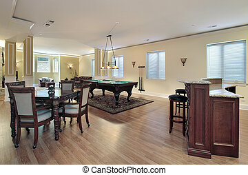 Lower level of luxury home with bar and stools