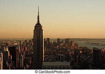 Lower Manhattan at dusk - Lower Manhattan cityscape at dusk...