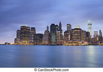 Lower Manhattan. - Image of Lower Manhattan at twilight blue...