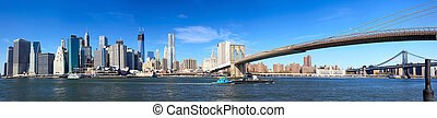Lower Manhattan panorama - Panoramic view of Manhattan...