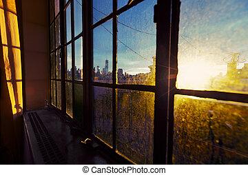 Lower Manhattan Skyline Afternoon Window - One World Trade...