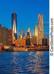 Lower Manhattan skyline along the East River - World Trade...