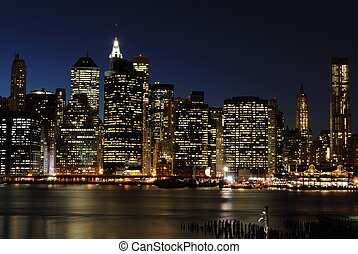 Lower Manhattan Skyline - Lower Manhattan at night from the ...
