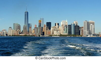 Lower manhattan skyline view from m