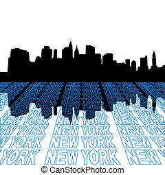 Lower Manhattan skyline with perspective text outline foreground