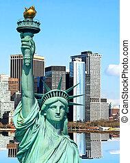 Lower Manhattan skylines in New York City USA