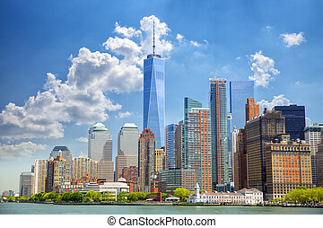 Lower Manhattan skyscrapers - Lower Manhattan urban...